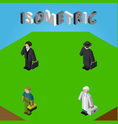 Isometric people set of medic investor plumber vector
