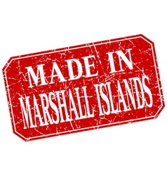 Made in marshall islands red square grunge stamp vector