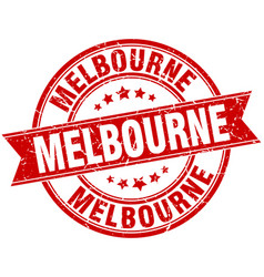 Melbourne red round grunge vintage ribbon stamp vector