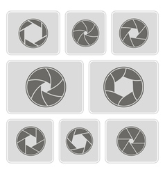 monochrome icons with camera shutter vector image