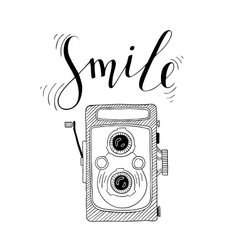 Photo camera with lettering - Smile Hand drawn vector image