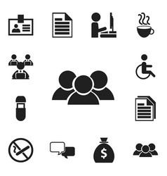 Set of 12 editable bureau icons includes symbols vector