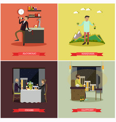 Set of bad habits concept posters in flat vector