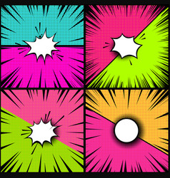 Set of comic style backgrounds versus style pop vector