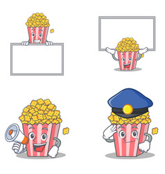 Set of popcorn character with board megaphone vector