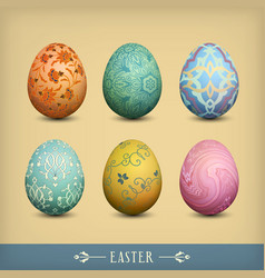 Set of vintage easter eggs vector