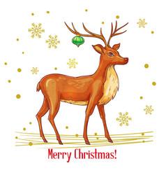 Sketch christmas deer vector