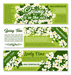Spring time floral greeting banners vector