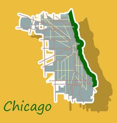 Sticker map chicago city illinois roads vector