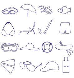 summer and beach simple outline icons set eps10 vector image