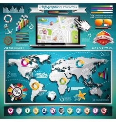 Summer travel infographic set with world map vector