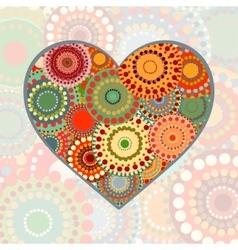 Vintage heart on pastel background vector