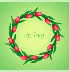 wreath of tulips vector image vector image