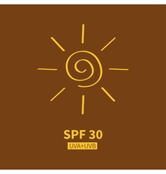 Yellow spiral sun shining sign symbol Swirl shape vector image