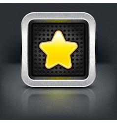 Yellow gold star icon with chrome metal frame vector