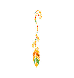 String with the beads and feather on the end vector