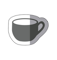 Sticker monochrome silhouette cup with handle vector