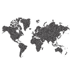 world map on white background dotted world vector image