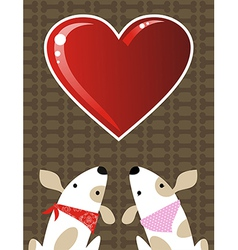 Valentines dog love background vector