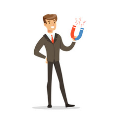 Successful businessman standing and holding magnet vector