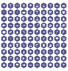 100 nature icons hexagon purple vector