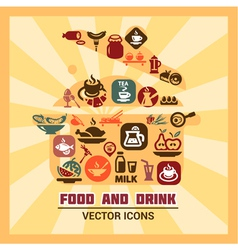 Colorful food and drink icons vector