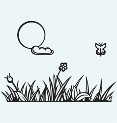Grass and flower vector