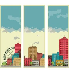 Banners set streetscapes vector