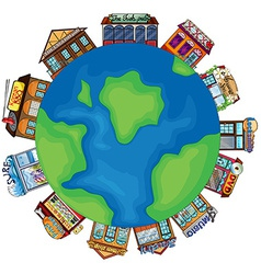 Shops and earth vector image