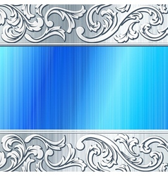 Blue and brushed steel futuristic banner vector
