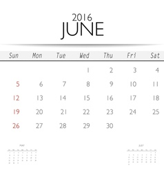 2016 calendar monthly calendar template for june vector