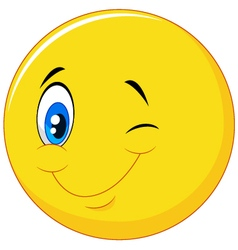 Happy emoticon cartoon with eye blinking vector image