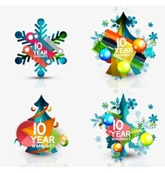 Set of christmas sale or promotion price tags new vector