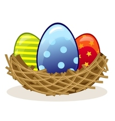 Easter eggs in the nest vector