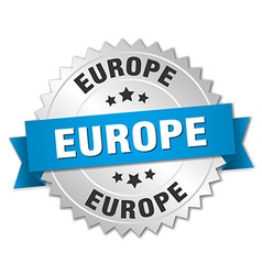 Europe round silver badge with blue ribbon vector