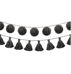 Balck and white tribal pom poms and tassels vector
