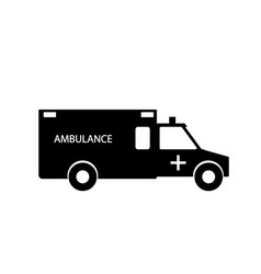 Black and white emergency ambulance with siren vector