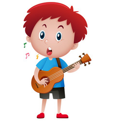boy singing while playing guitar vector image vector image