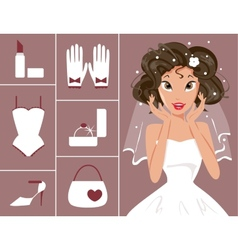 Bride and wedding accessories vector