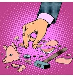 Broken piggy bank with money vector