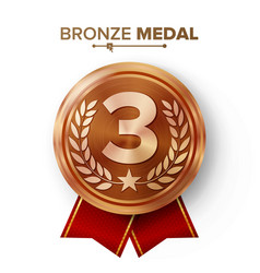 Bronze 3st place medal metal realistic vector
