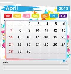 Calendar April 2013 vector image