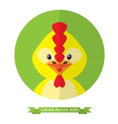 Chicken flat icon on green background vector image