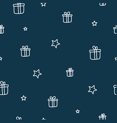 chistmas gifts and stars dark blue seamless vector image