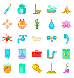Cleanup icons set cartoon style vector