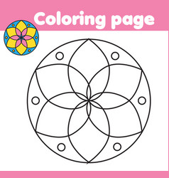 Coloring page with abstract flower shape drawing vector