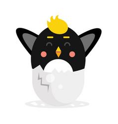 cute newborn black bird character funny nesting vector image