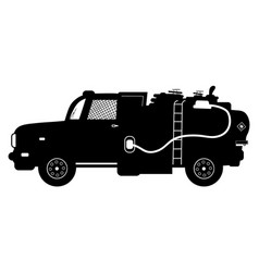 Detailed silhouette of fuel carrier truck vector