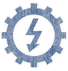 Electric energy cog wheel fabric textured icon vector