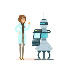 Female scientist working with robot in a modern vector